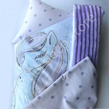 Набор в коляску (кроватку) 3 предмета «Лавандовый единорог» Сатин+цифровая печать