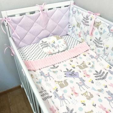 Бортики в кроватку Сатин «Лесные зверята» Комплект на 3 стороны с подушкой