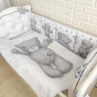 Комплект бортиков в кроватку «Мишка Тедди» на 3 стороны