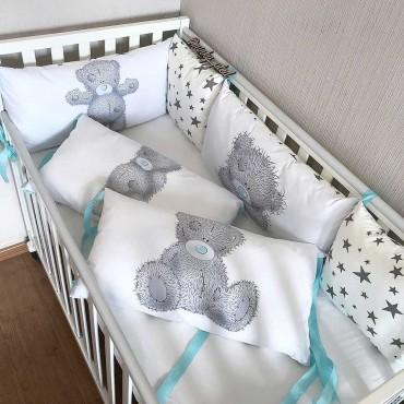 Комплект бортиков в кроватку «Мишка Тедди №2» на 4 стороны