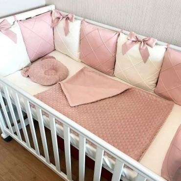 Бортики в кроватку Сатин «Пудровая классика» Комплект на 3 стороны