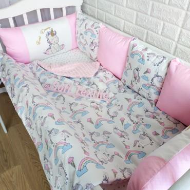Комплект бортиков в кроватку «Радужный единорог» на 3 стороны