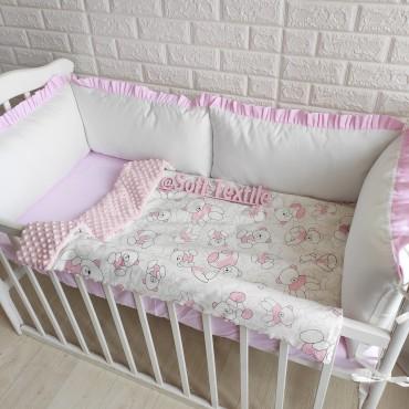 Комплект бортиков в кроватку «Розовые мишки» на 3 стороны