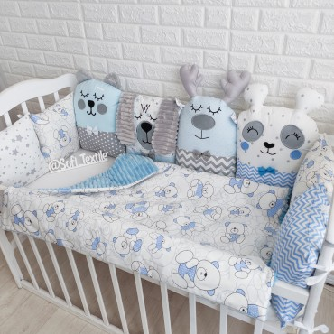 Комплект бортиков в кроватку «Серо-голубые зверята» на 3 стороны