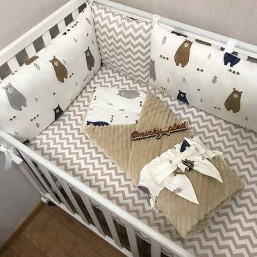 Комплект бортиков в кроватку«Скандинавские мишки №3» на 4 стороны
