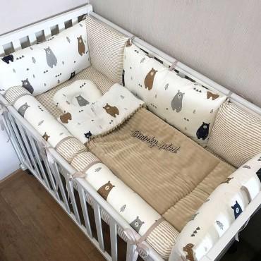Комплект бортиков в кроватку«Скандинавские мишки №4» на 4 стороны