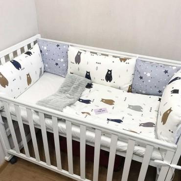 Комплект бортиков в кроватку«Скандинавские мишки №5» на 3 стороны