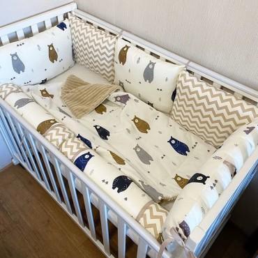 Комплект бортиков в кроватку «Скандинавские мишки №7» на 4 стороны