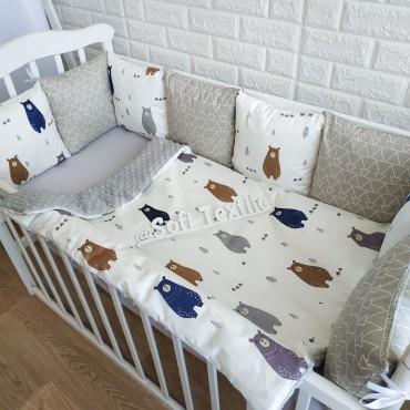Комплект бортиков в кроватку «Скандинавские мишки»  на 3 стороны