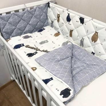 Комплект бортиков в кроватку «Скандинавские мишки №1» на 4 стороны