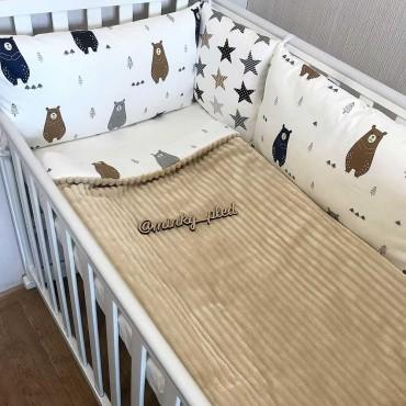 Комплект бортиков в кроватку «Скандинавские мишки №2» на 3 стороны