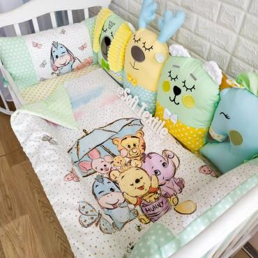 Комплект бортиков в кроватку «Забавные зверята» на 3 стороны