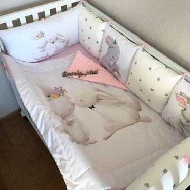 Комплект бортиков в кроватку «Зайчики №1» на 3 стороны