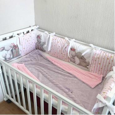 Комплект бортиков в кроватку «Зайчики №2» на 3 стороны