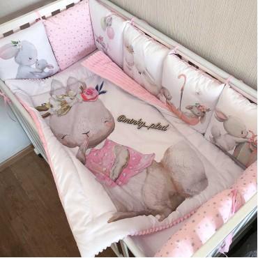 Комплект бортиков в кроватку «Зайчики №3» на 3 стороны