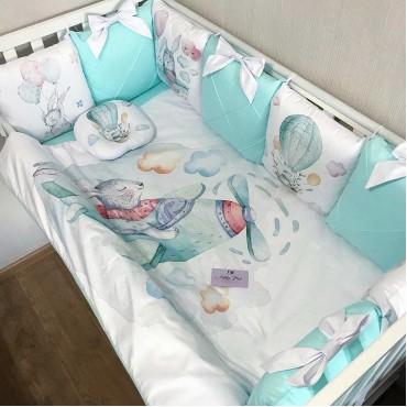 Комплект бортиков в кроватку «Зайчики №6» на 3 стороны