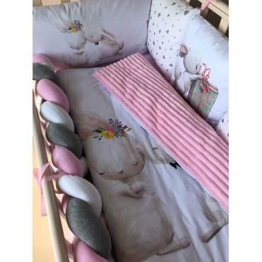 Комплект бортиков в кроватку «Зайчики №9» на 4 стороны