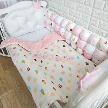 Комплект бортиков в кроватку «Зефирка» на 3 стороны