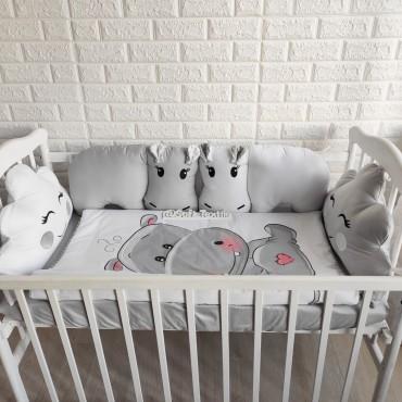 Комплект бортиков в кроватку «Бегемотики» на 3 стороны