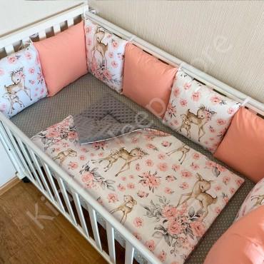 Бортики в кроватку Бязь «Косули и розовые цветы» на 4 стороны