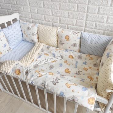 Комплект бортиков в кроватку «Сказочное сафари» на 3 стороны