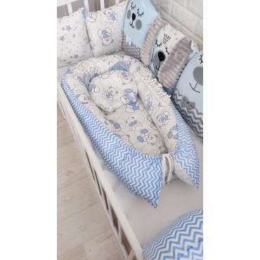 Кокон-гнездышко «Голубые мишки» с подушкой