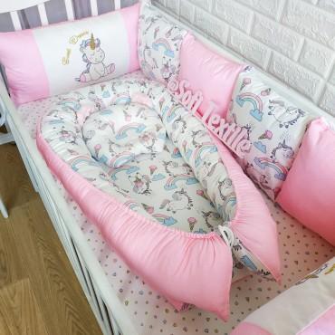 Кокон-гнездышко «Радужный единорог» №1 с подушкой