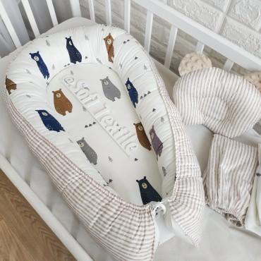 Кокон-гнездышко «Скандинавские мишки» с подушкой