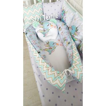 Кокон-гнездышко «Сказочные дракончики» с подушкой