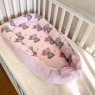 Кокон-гнездышко Бязь «Мишка Тедди girl» Розовый