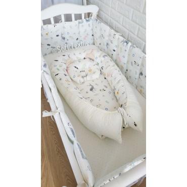 Кокон-гнездышко «Олени в лесу» с подушкой