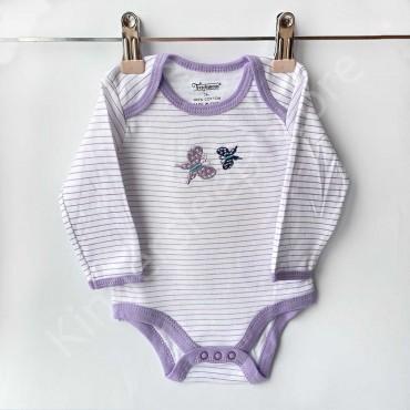 Боди с длинным рукавом, Бабочки, Фиолетовая полоска