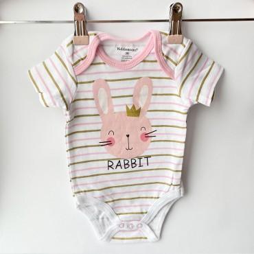 Боди с коротким рукавом, Rabbit, Розово-золотая полоска