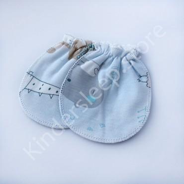 Царапки варежки (рукавички) для мальчика Динозаврики, Голубые
