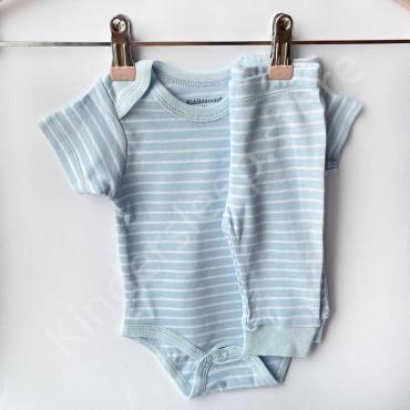 Комплект боди с коротким рукавом и штанишки, Голубая широкая полоска
