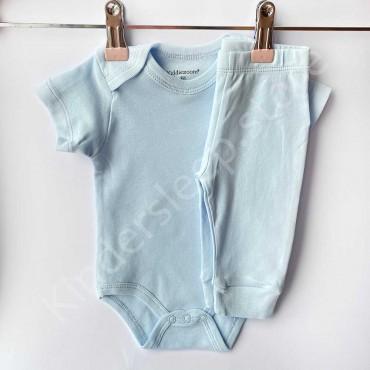Комплект боди с коротким рукавом и штанишки, Голубой однотон