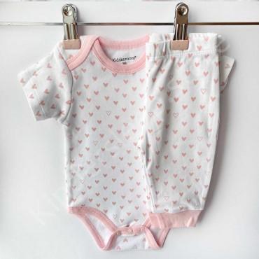Комплект боди с коротким рукавом и штанишки, Сердечки Розовые