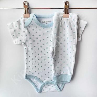 Комплект боди с коротким рукавом и штанишки, Звёздочки голубые