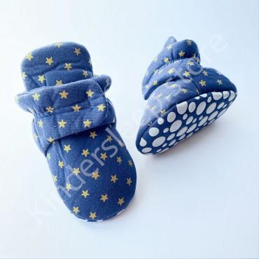 Пинетки сапожки хлопковые 6-12 мес, на липучках Синие