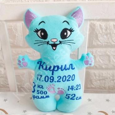 Именная игрушка с метрикой «Котик» для мальчика