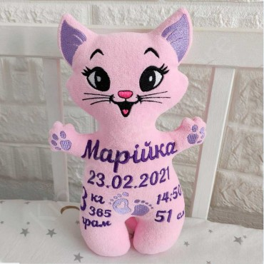 Именная игрушка с метрикой «Котик» для девочки