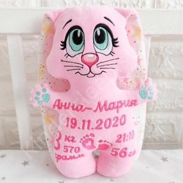 Именная игрушка с метрикой «Зайчонок» для девочки