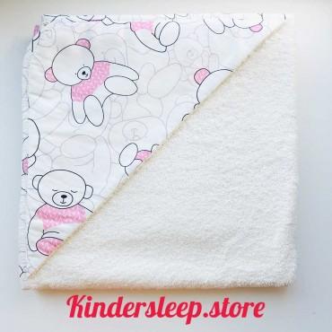 Полотенце с уголком «Мишка в розовом свитере»
