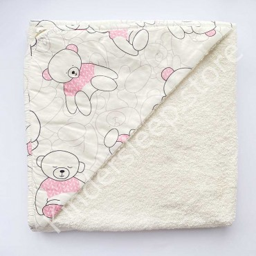 Полотенце с уголком (уголок), 100х100 см «Мишка в розовом свитере» Белое