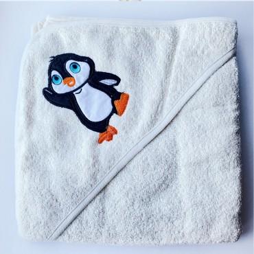 Полотенце с уголком (уголок), 90х90 см «Пингвин» Белое