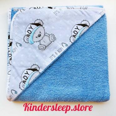 Полотенце с уголком «Тедди junior» голубое