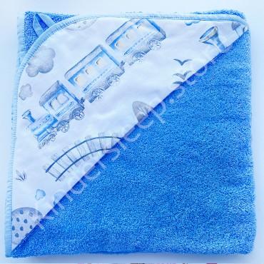 Полотенце с уголком (уголок), 100х100 см «Железная дорога» Голубое