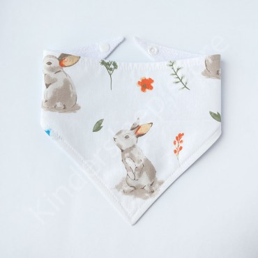 Слюнявчик непромокаемый «Лесной Зайчик» Белый