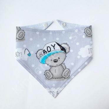 Слюнявчик непромокаемый «Мишка Тедди boy» цвет Серый