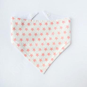Слюнявчик непромокаемый «Розовые звездочки» цвет Белый